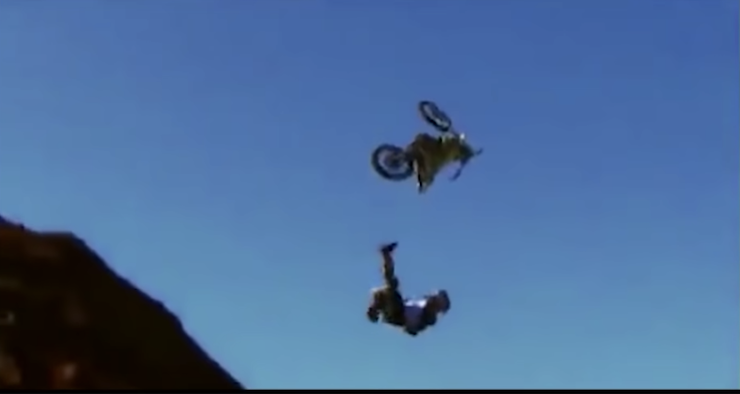 The bike flying away from Knoxville mid-air