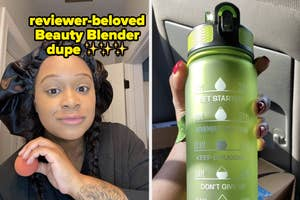 beauty blender dupe and time marked water bottle