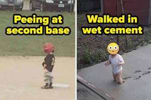 A boy on second base is peeing on the field