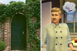 a green door on the left covered in vines and a sim chef on the right