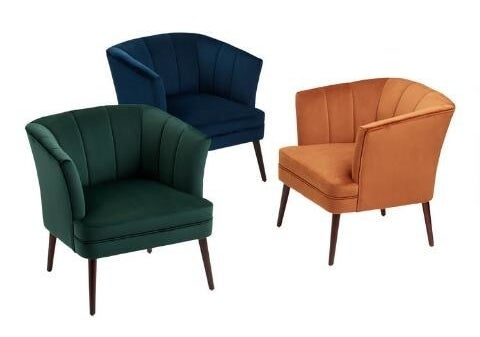the chair in green, navy, and rust