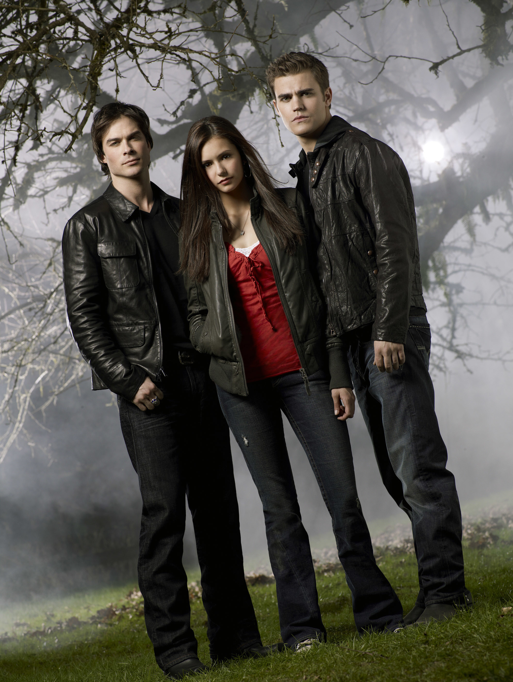 Damon and Stefan with Elena in the middle