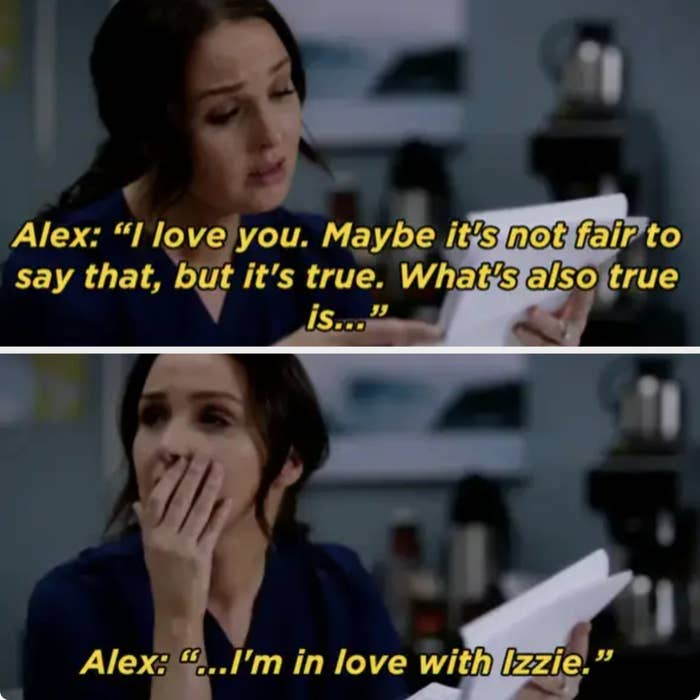 Alex leaves Jo a letter saying he's in love with Izzie