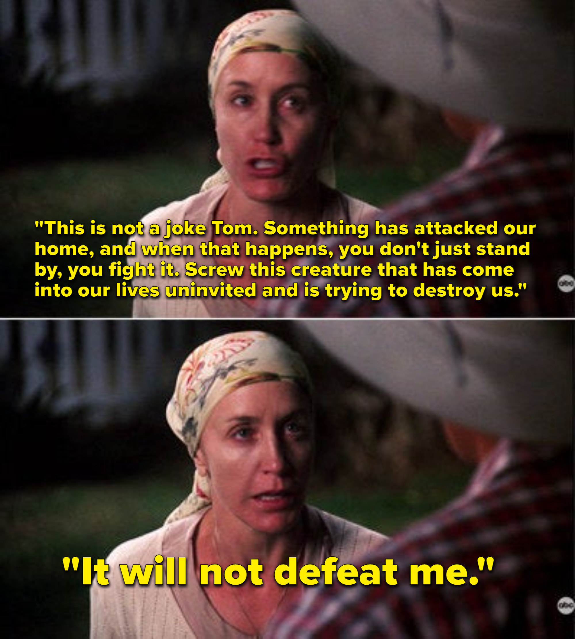 Lynette telling Tom the possum has attacked their home and she will not be defeated