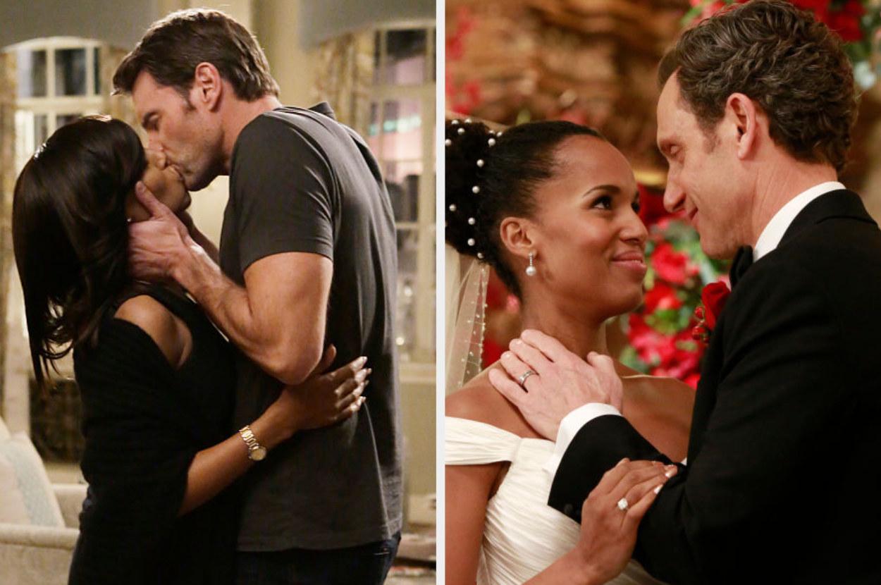 Olivia kissing Jake alongside Olivia and Fitz wedding