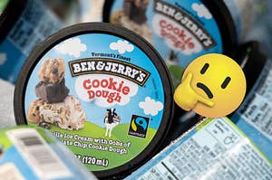 Ben and Jerry's Cookie Dough ice cream pints are shown with a think face emoji