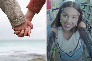 On the left, a couple holding hands, and on the right, Olivia Rodrigo smiling in the aisle of a grocery store in the Good 4 U music video