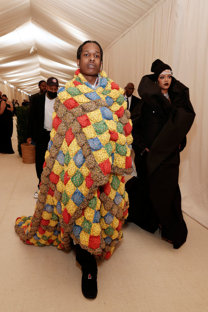 A$AP Rocky enters the Met Gala with a knit blanket wrapped around him