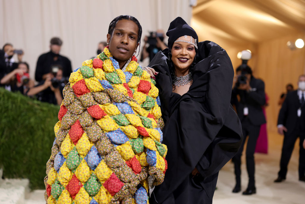 ASAP Rocky and Rihanna pose for a picture on the Met steps