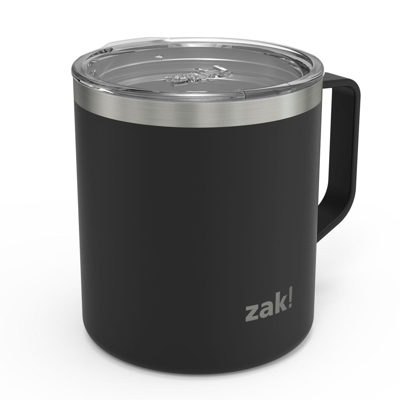 a black insulated mug