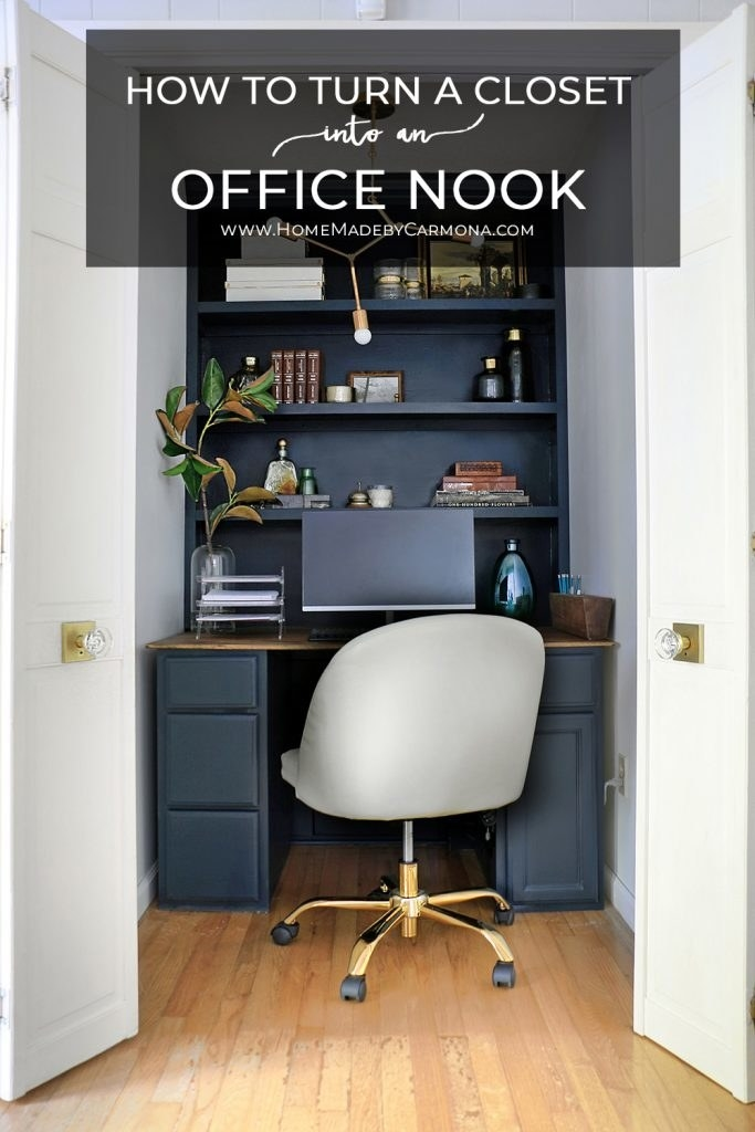a desk, office chair, and shelves in a closet