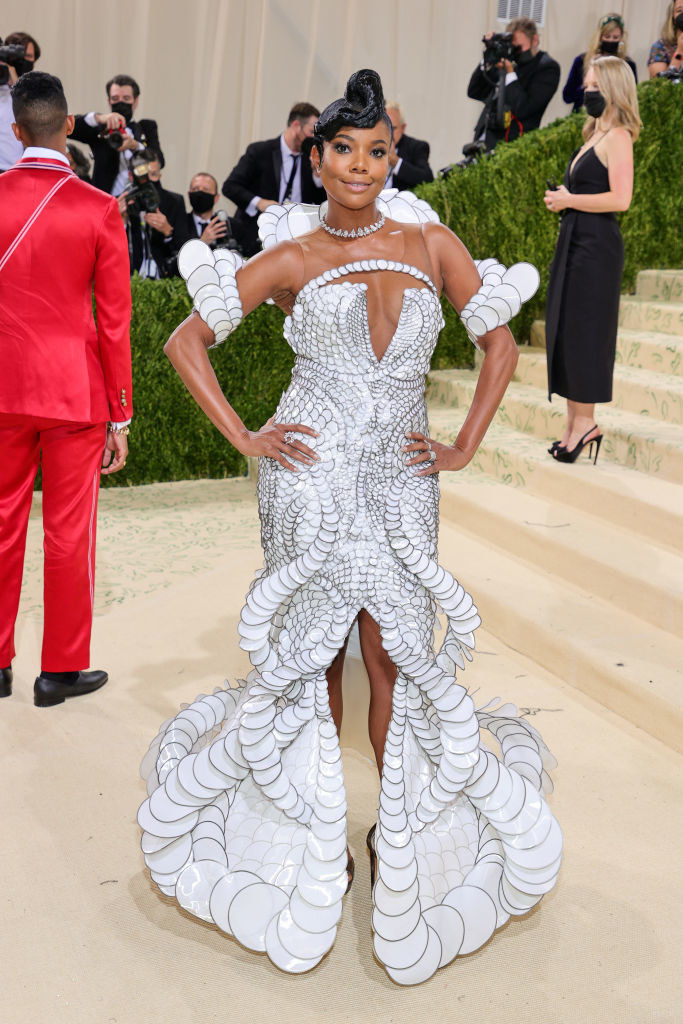 Gabrielle Union wears an intricate light colored gown