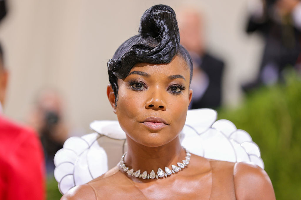 A close up ofGabrielle Union as she shows off her natural makeup