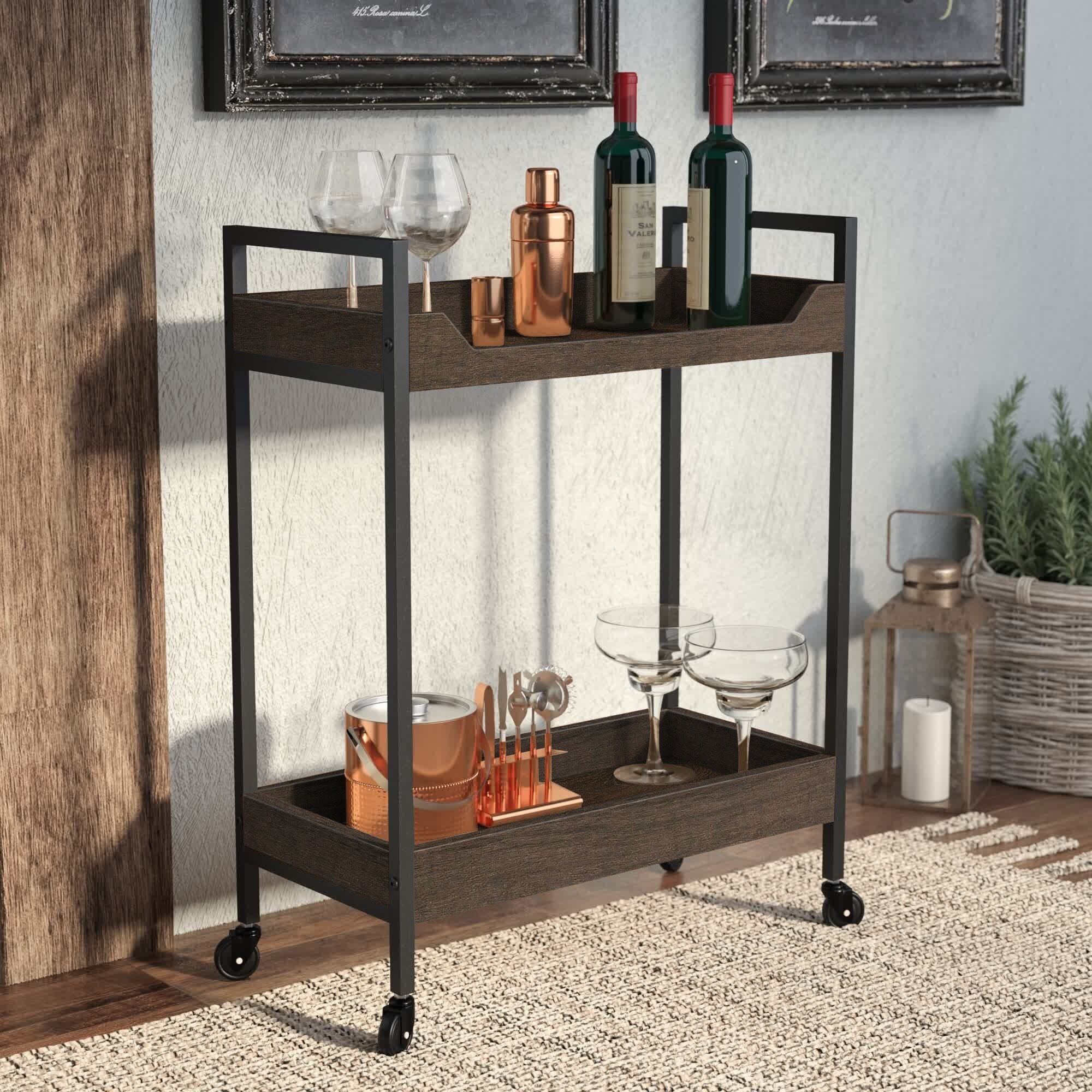 the two-tier rolling bar cart in an espresso finish