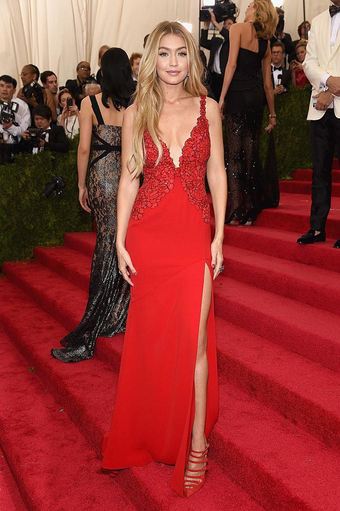Gigi wore a dark form-fitting gown