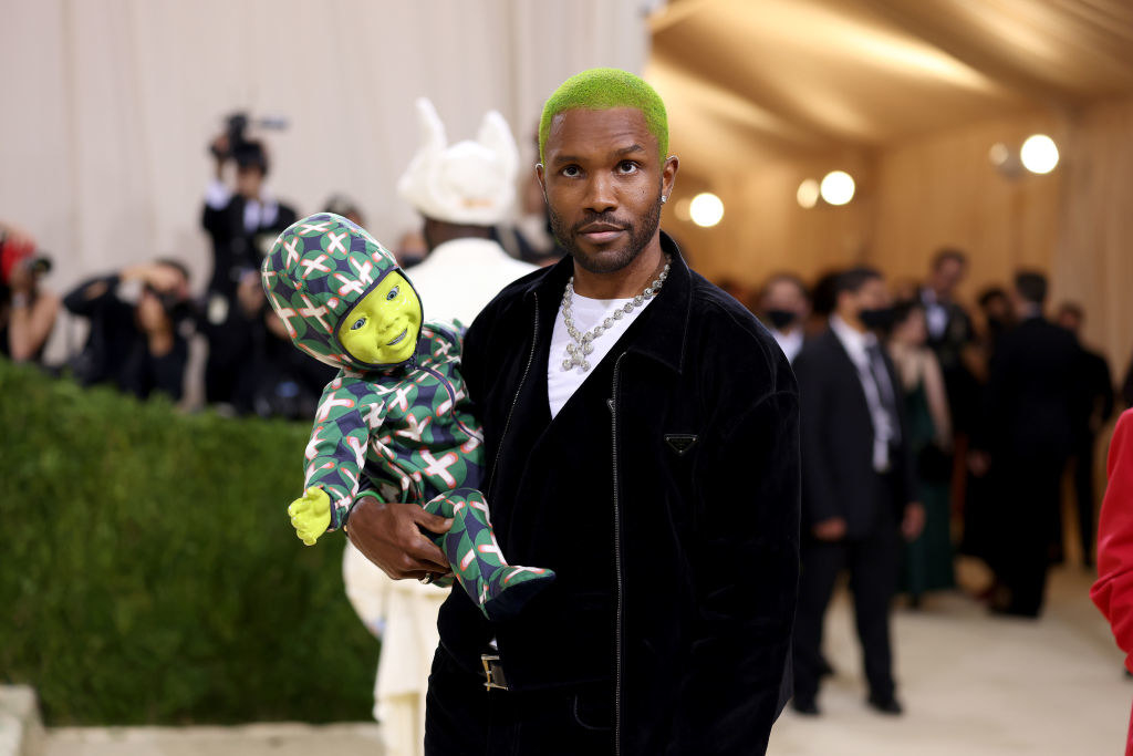 Frank Ocean arriving at the 2021 Met Gala with a green baby