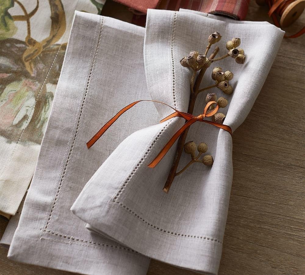 a linen napkin in grey