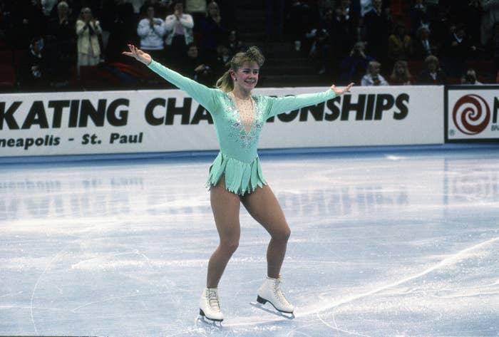 Tonya Harding wearing a skating outfit