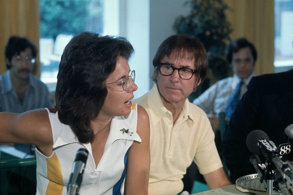 Billie Jean King and Bobby Riggs at a press conference