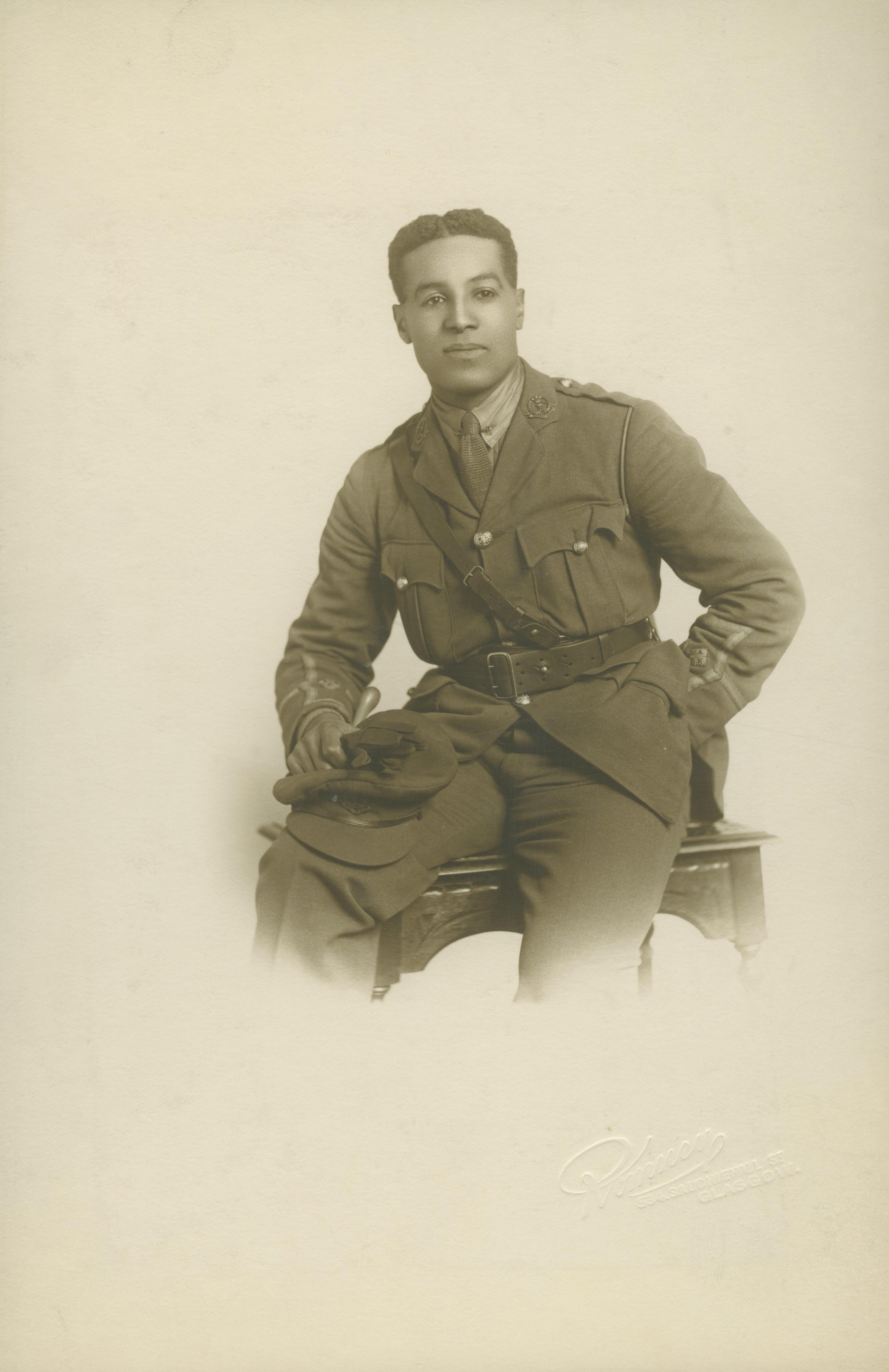 Walter Tull wearing a World War I uniform