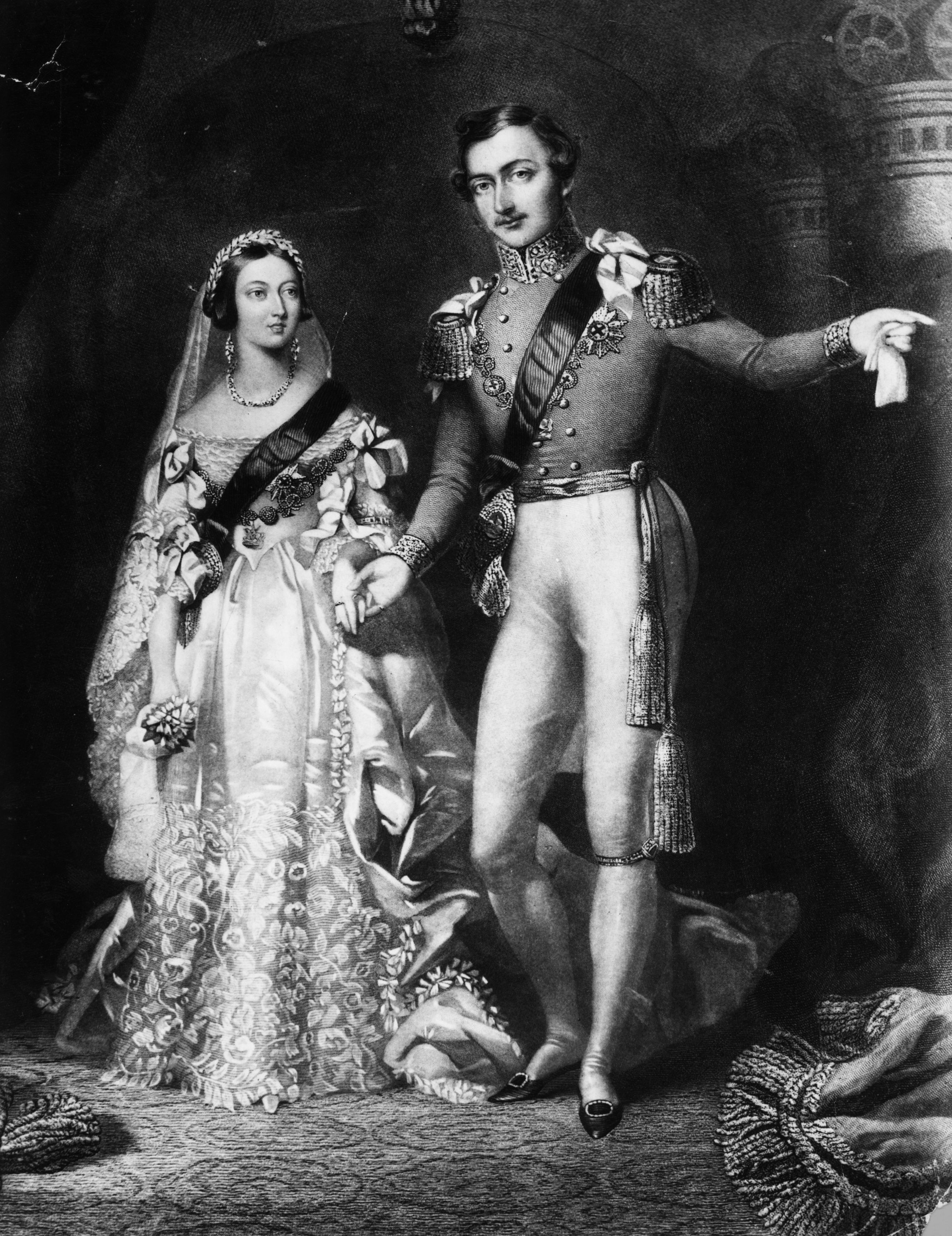 Queen Victoria and prince Albert returning from their marriage service