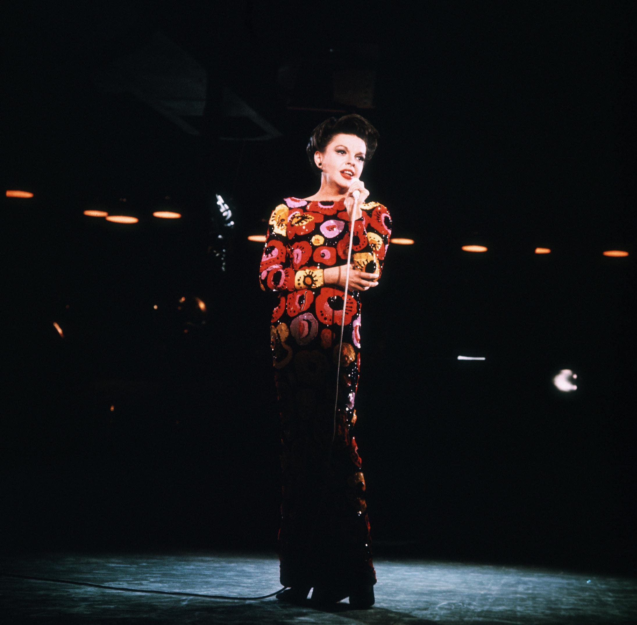 Judy Garland in a long sleeve dress