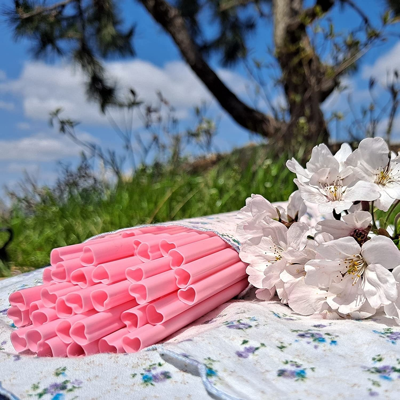 pink heart shaped straws