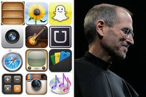 A set of old iPhone app icons next to a photo of Steve Jobs on stage at an Apple event