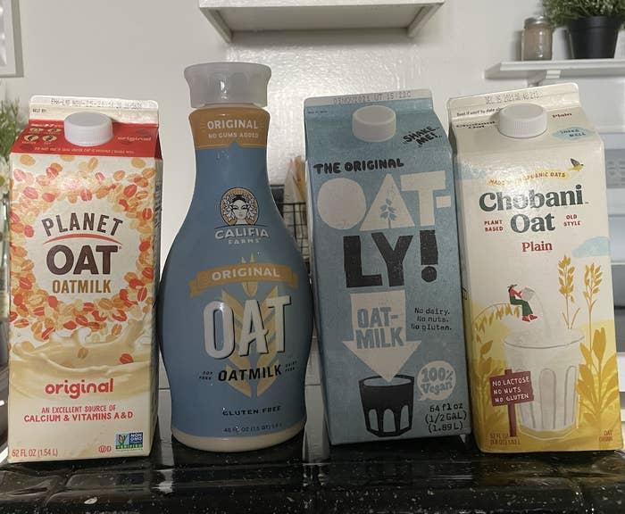Planet Oat, Califia, Oatly, and Chobani oat milk