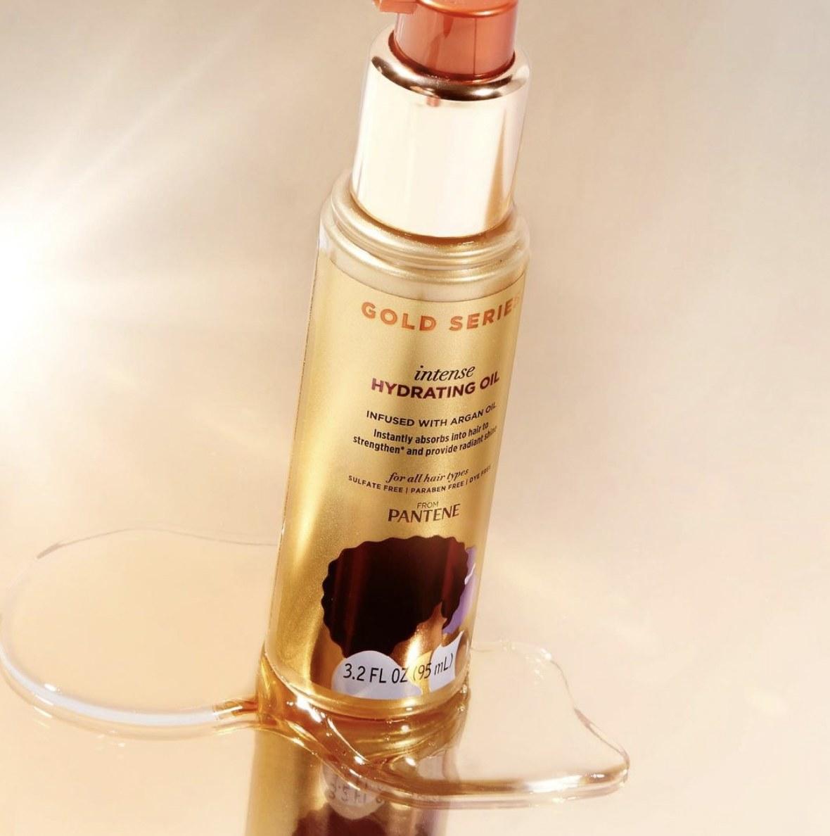 A bottle of oil treatment