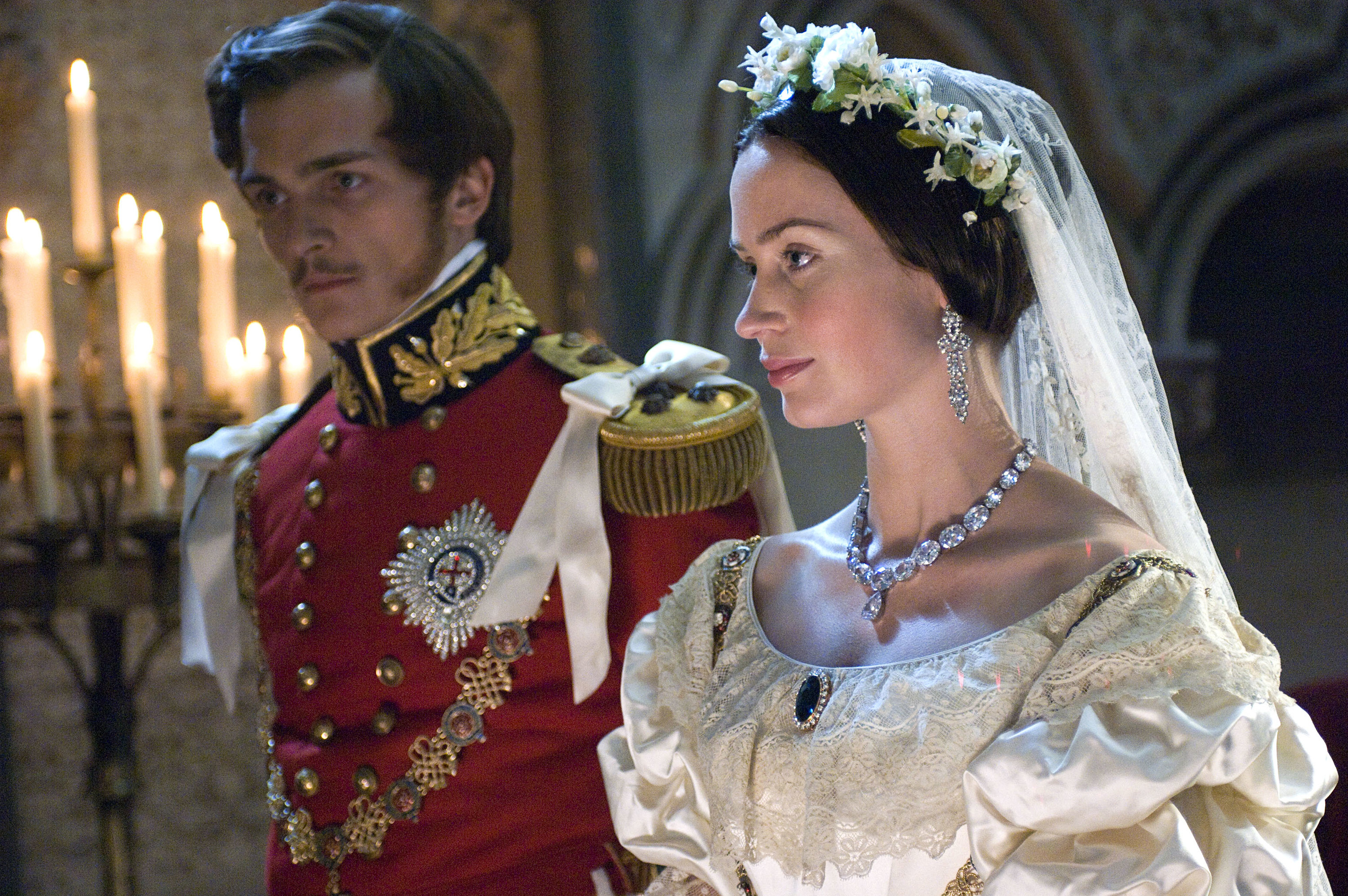 Queen Victoria and Prince Albert getting married in the movie