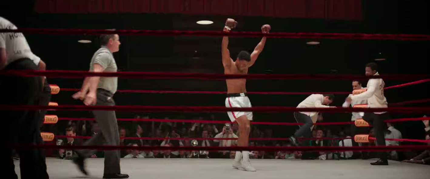 Muhammad Ali having won the boxing match