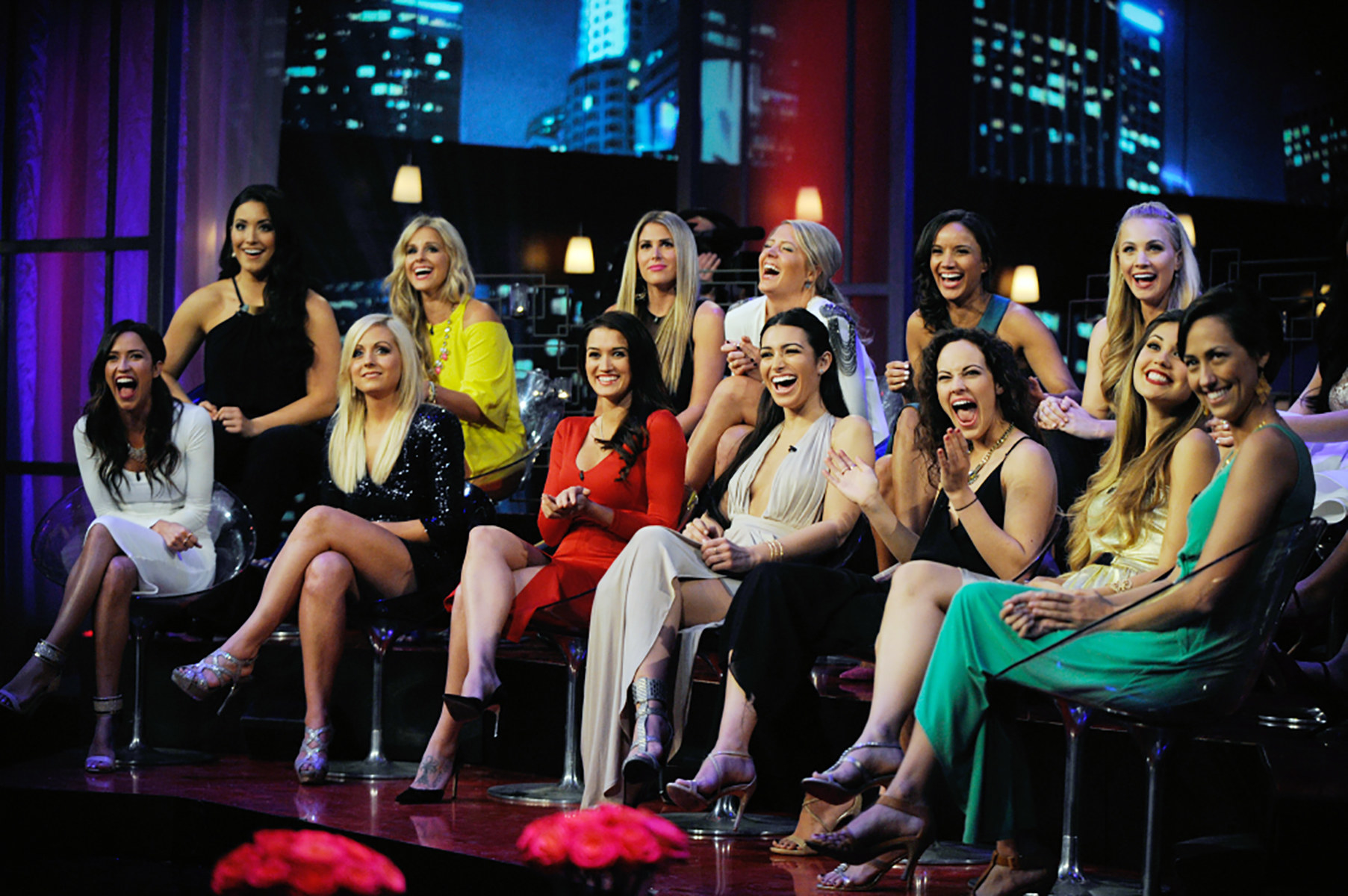 The cast of The Bachelor from 2015 during the women tell all special