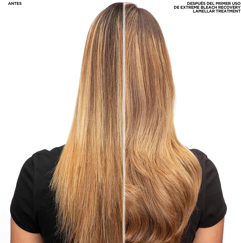 Antes y después del tratamiento para el cabello decolorado