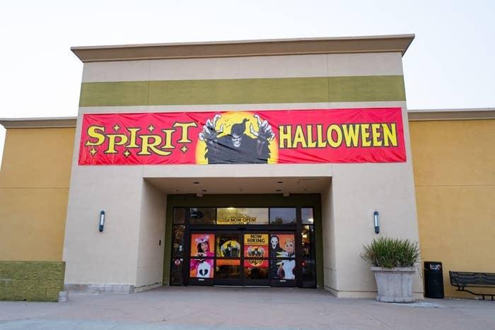 Facade of seasonal Halloween decor store Spirit Halloween at a shopping center in Dublin, California