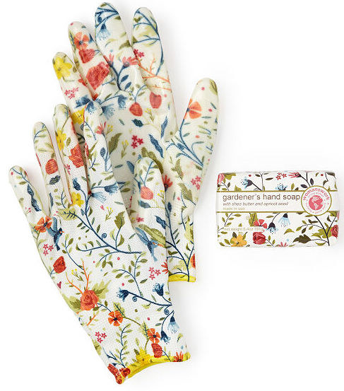 The gardening gloves and hand soap are shown