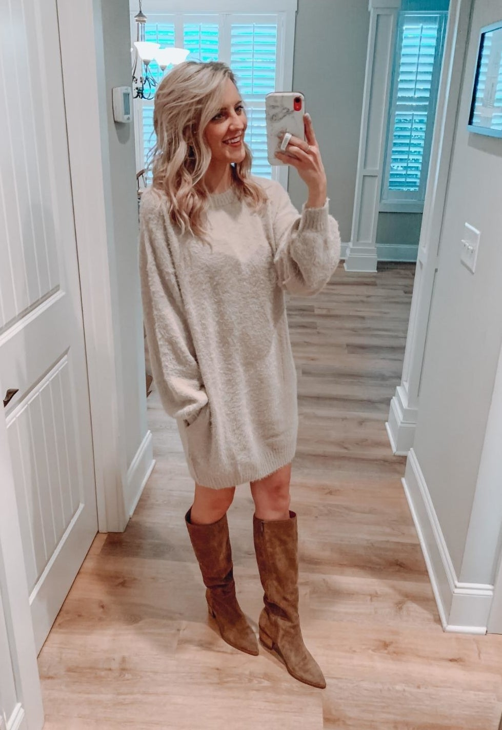 Reviewer wearing the apricotoversized long loose pullover sweater dress