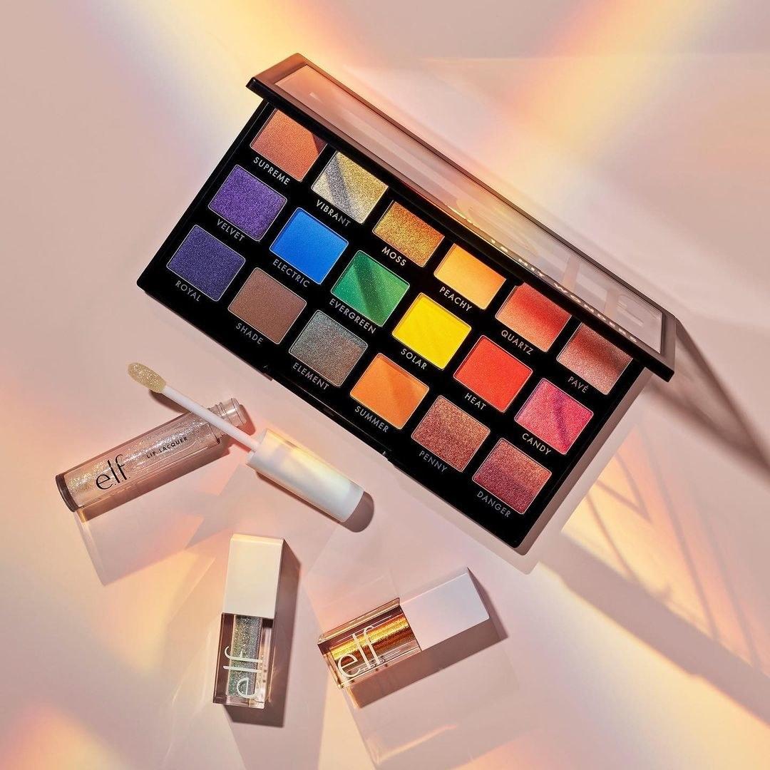 elf 18 wonders palette next to elf lip gloss and liquid shadow