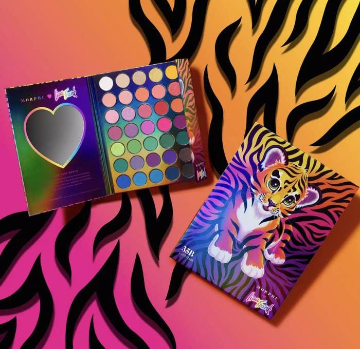 Lisa Frank palette against colorful tiger print background