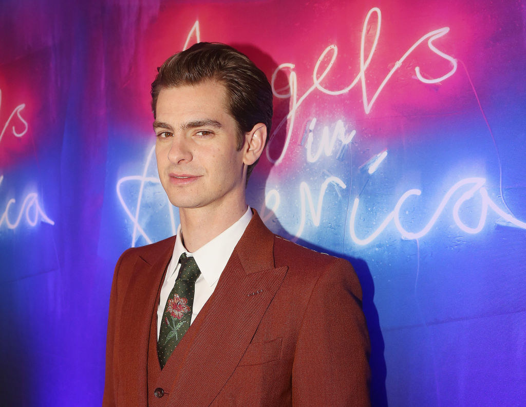 """Andrew Garfield poses at the opening night after party for """"Angels in America"""""""