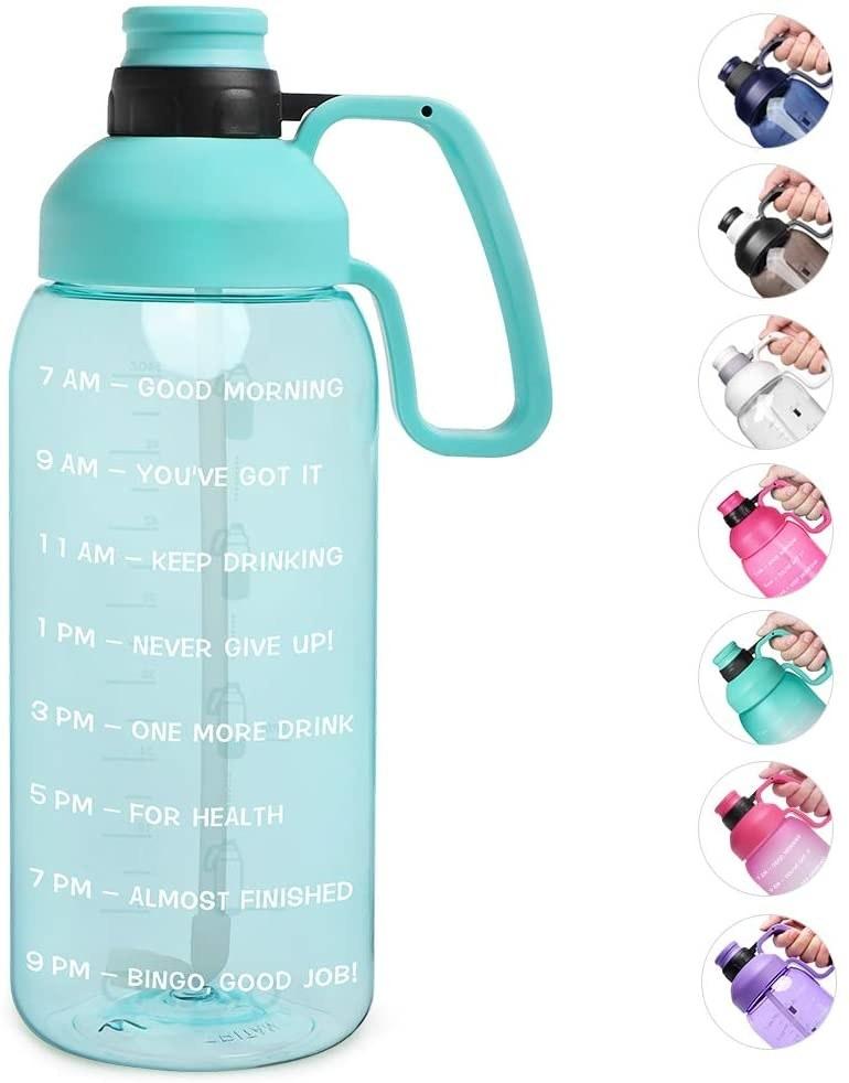 Botella de agua de galón con marcador de tiempo
