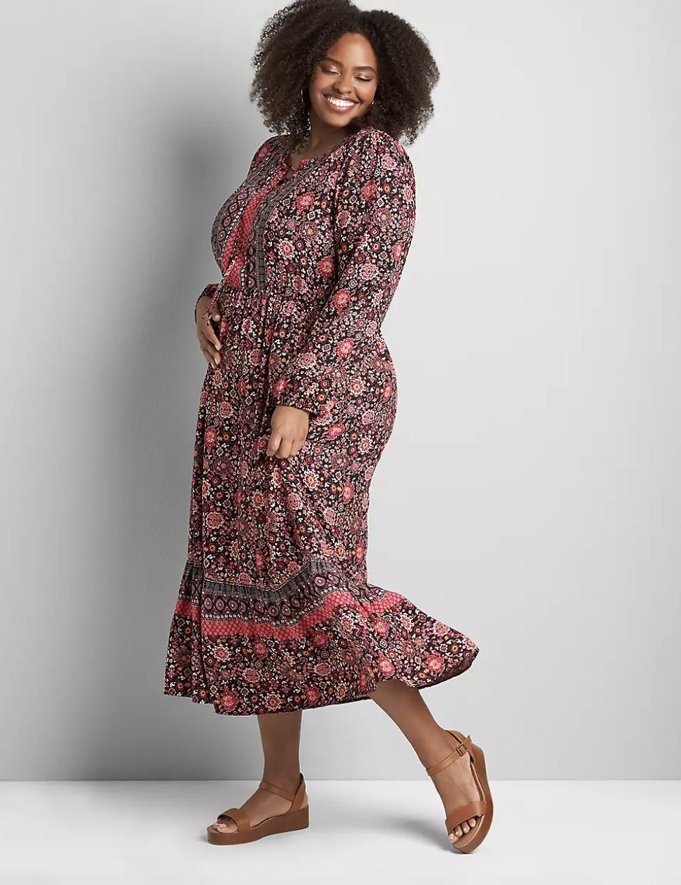 model in midi length printed dress