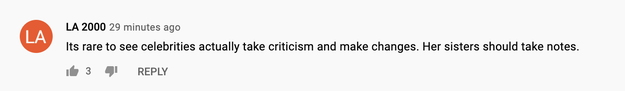 """YouTube comment reads: """"It's rare to see celebrities actually take criticism and make changes. Her sisters should take notes."""""""