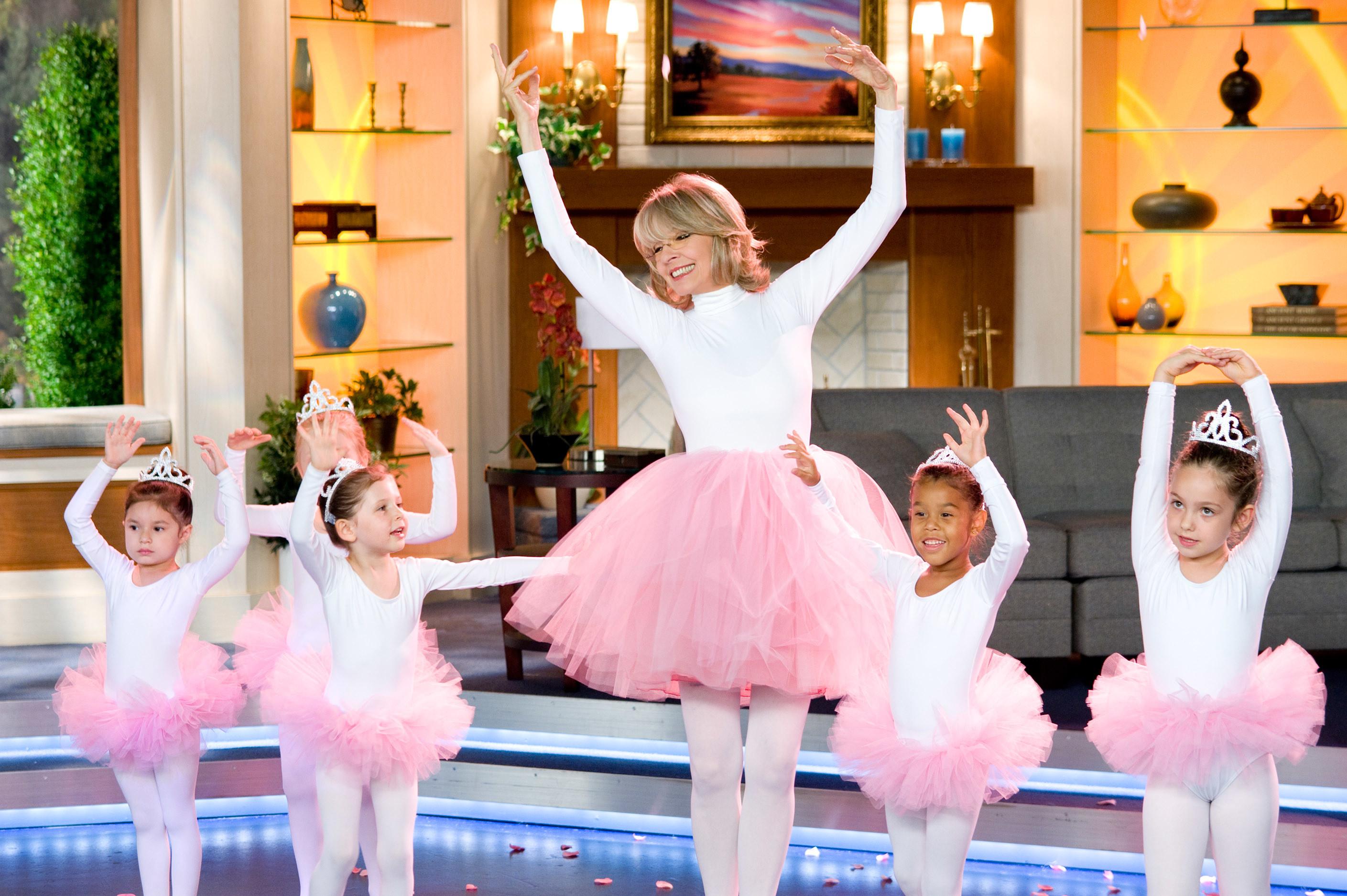 Diane Keaton dances with children ballerinas
