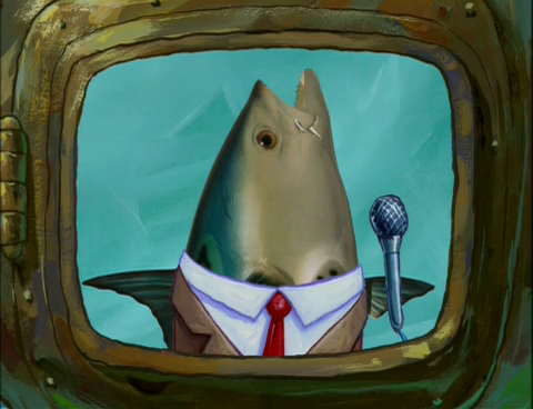 Fish in a suite with a microphone