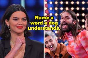 Kylie Jenner and Jonathan Van Ness with text,