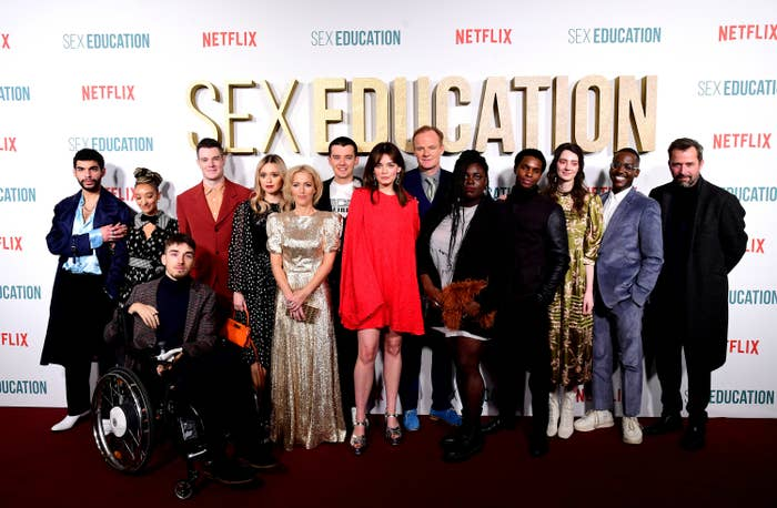 The cast of Sex Education standing