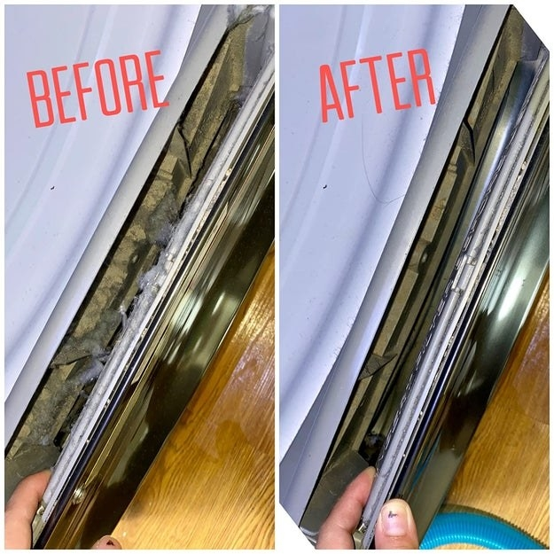 Reviewer before and after photo of their dryer with lint in it