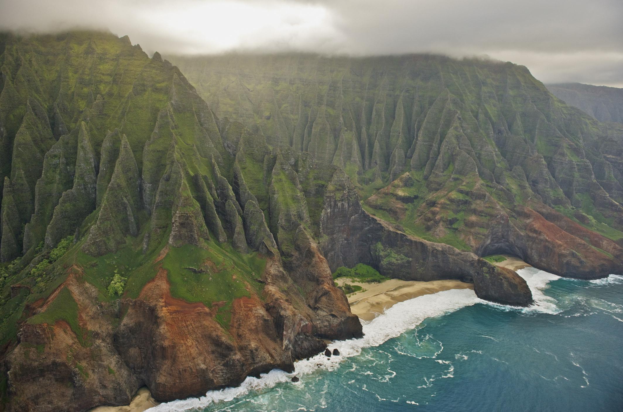 Aerial view of Na Pali Coast, Kauai.