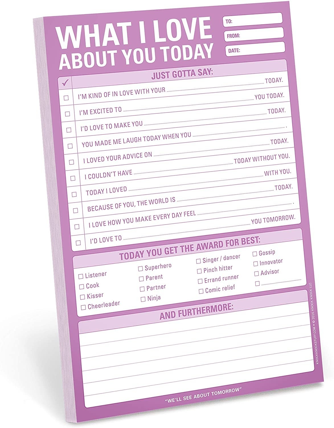 A purple and white checklist full of prompts about compliments for your partner